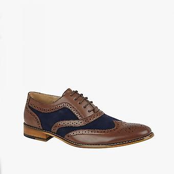 Goor Lloyd Mens Faux Leather Oxford Brogues Tan/navy