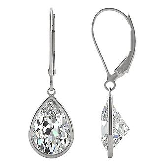 14K White Gold Moissanite por Charles & Colvard 10x7mm Pear Bezel Drop Earrings, 4.20cttw DEW
