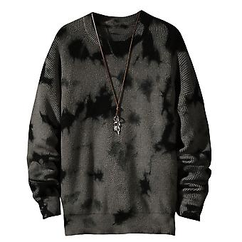 Yunyun Men's Printed Stitching Crewneck Soft Loose Fit Casual Sweater