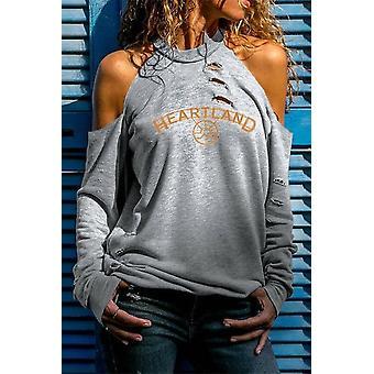 Print Cold Shoulder Distressed Sweatshirt