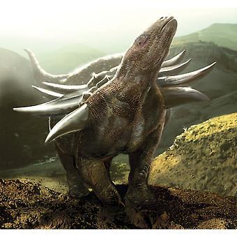 Сильно бронированных динозавров Panoplosaurus Плакат Печать