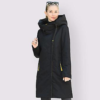New Parkas Thin Cotton Long Windproof Stylish Hooded Coat Plus Size Outerwear