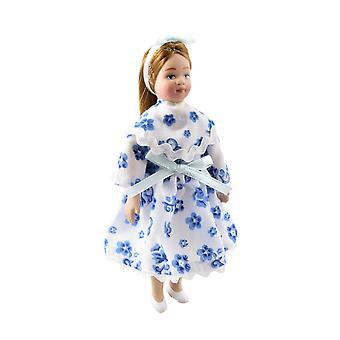 Nukketalo Moderni pieni tyttö juhlamekossa 1:12 Vaa'an posliini ihmiset
