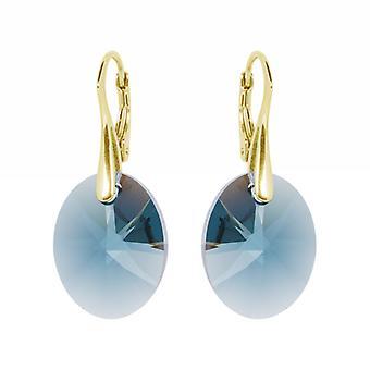 Oorbellen conoció a Swarovski Kristallen Oval Montana Blauw - Zilver Goudkleurig