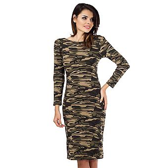Fitted Camouflage Midi Dress - Green