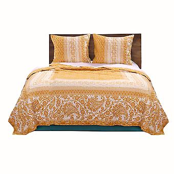 Conjunto de edredón de doble tamaño de tela con motivo de Paisley y Floral, blanco y naranja