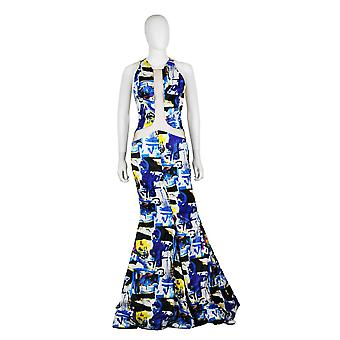 Modern Print Mermaid Gown