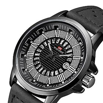 Deffrun römische Zahl Business Style Männer Armbanduhr wasserdicht Kalender Leder