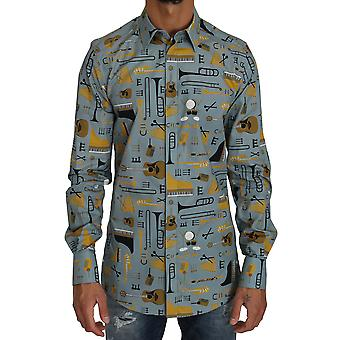 Dolce & Gabbana Blue Yellow Slim Fit Gold Jazz Casual Camicia