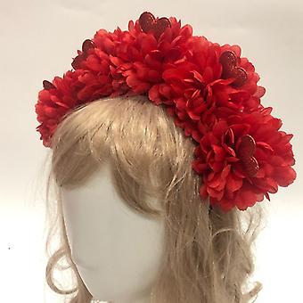Opaska ślubna kwiatowa dla nowożeńców (czerwony)