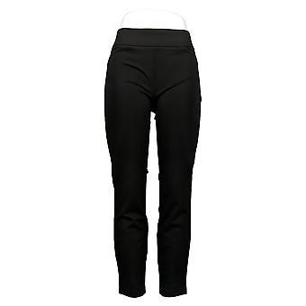 Dalia Leggings Ponte træk på bukser stræk komfort slanke ben lomme sort