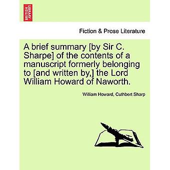 A Brief Summary [by Sir C. Sharpe] of the Contents of a Manuscript Fo