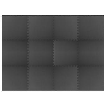 Floor Mats 12 Pcs 4.32 銕?eva Foam Black