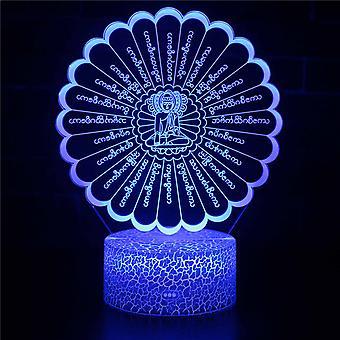3D Illusion Lampa 7 kolory Zmiana optyczna Touch Light USB i pilot art deco Make A Romantic Atmosphere Christmas Valentine & s Day Birthday Gift-Buddha #697