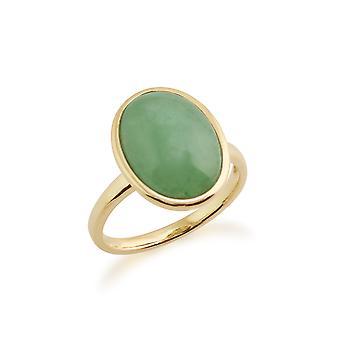 Gemondo 9ct Yellow Gold 3ct grön Jade inramade Ring