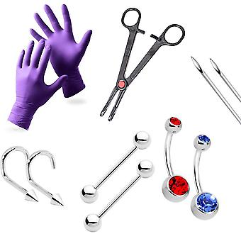 10-Piece professional piercing kit - 100% titanium jewelry + tool,needles,gloves