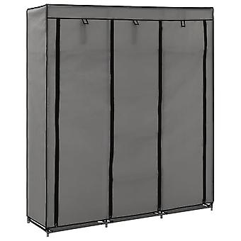 vidaXL خزانة الملابس مع مقصورات وقضبان رمادي 150x45x175cm النسيج