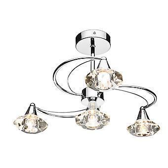 Półpłytowy sufit Światło światło polerowane chrom kryształ, 4x G9