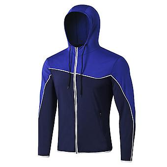 SPORX Men's Performance Full Zip Hoodie Blue White