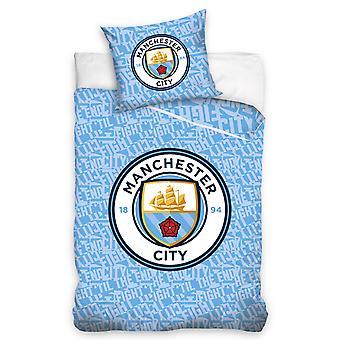 Manchester City FC Glow In The Dark Eenpersoons dekbedovertrek en kussensloop