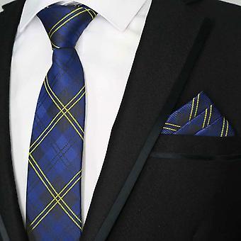 Navy blue & yellow tartan stripe tie & pocket square