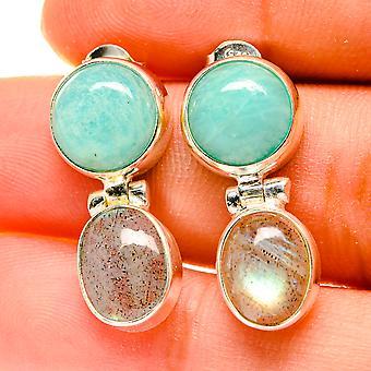 """Peruvian Amazonite, Labradorite Earrings 1"""" (925 Sterling Silver)  - Handmade Boho Vintage Jewelry EARR417141"""