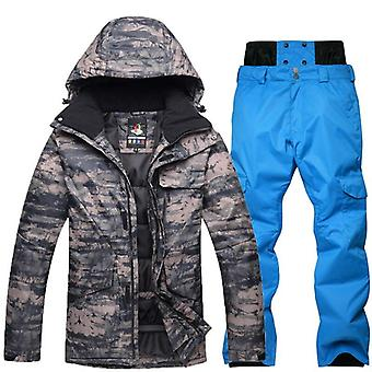 Men's Waterproof Breathable Snowboard Jacket Winter Snow Pants Suits