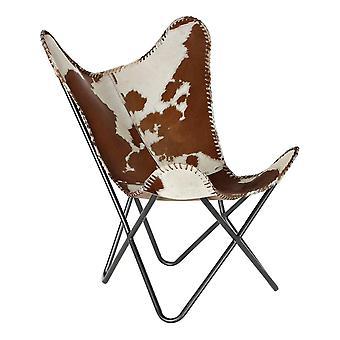 Nojatuoli DKD Home Sisustus Valkoinen Ruskea Nahka (70 x 70 x 90 cm)