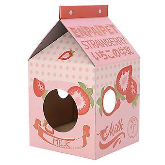 Milk Box Cat House aaltopahvi kissanpesä naarmupala pahvi lemmikkikissan makuutaloon