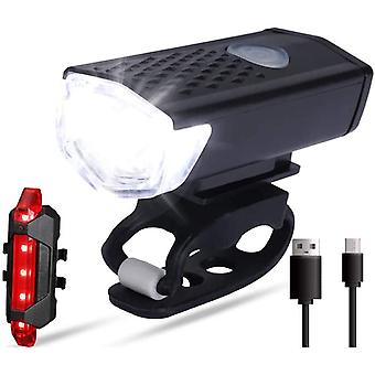 Bright Led Bike Light Set Front Headlight And Rear Taillight For Bicycle Night Ride