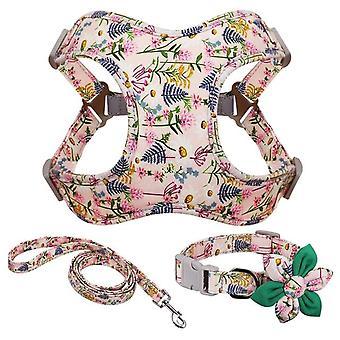 French bulldog harness leash and collar set
