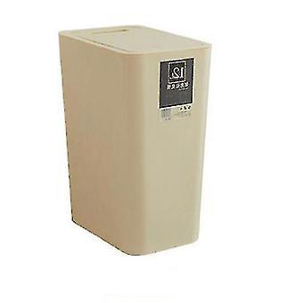 12 litres de tri poubelle, poubelle en plastique rectangulaire avec couvercle (beige)