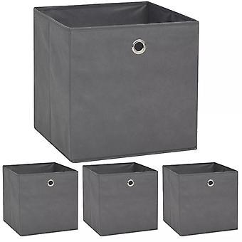 vidaXL boîtes de rangement 4 pcs. Non-tissé 32 x 32 x 32 cm gris