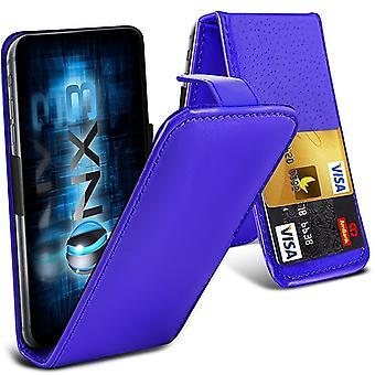(Blå) HTC U Spela Universal Folding PU läder våren Klämma hållare Flip Case 2 kort Kort Kortsplats Glida upp / ner kamera
