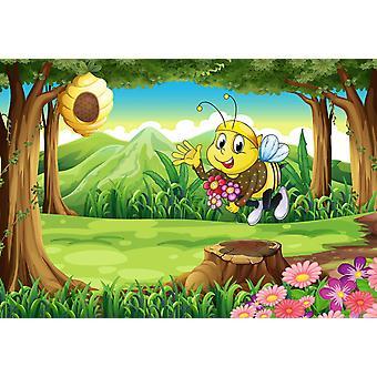 Tapeta Mural pszczoła w lesie z kwiatami