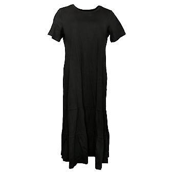 LOGO par Lori Goldstein Robe Coton Modal Tiered Midi Robe Noir A378828