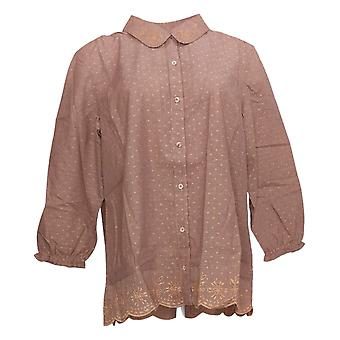 LOGO By Lori Goldstein Women's Top Stripe Embroidered Blouse Pink A375421