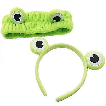2 Pack frog makeup headband wide-brimmed elastic hairbands hair loop women headwear lc577