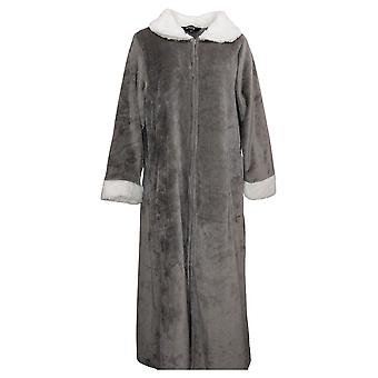 Soft & Cozy Women's M/L Robe with Fuzzy Neck and Sleeves Gray 670932