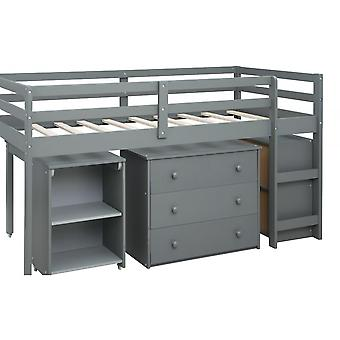 Multiple Functions Children Bed With Three Drawers Desk Storage Shelves In Grey
