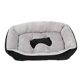 Pet Bed Dog Mat Cat Pad Soft Peluche Gris Noir Pour Chats et Petits Chiens (taille l)