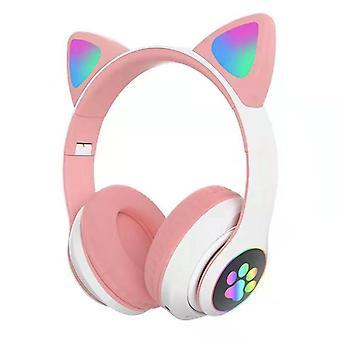 Wireless Bluetooth Headphones Cat Ear Headset With Led Light