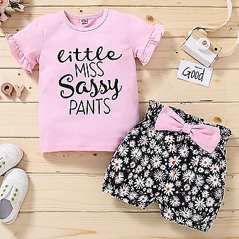 Baby Girl nyári rövid ujjú póló Top Rövidnadrág Outfit Outfit Set