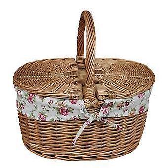 Lumina aburit Oval lidded gradina trandafir căptușit picnic coș