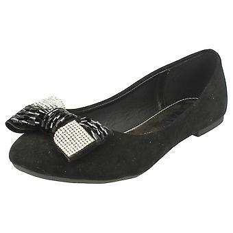 Lugar las señoras Diamante detalle arco zapatos