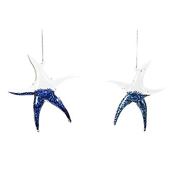 Glass Glittered Starfish Holiday Ornaments 7 Inch Set of 2