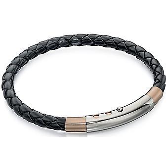 Roestvrij staal goud vergulde lederen modieuze armband