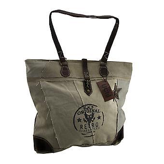 Stile vintage originale Retro Demin in pelle Trim Tote Bag