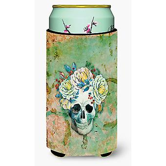 Day of the Dead Skull with Flowers Tall Boy Beverage Insulator Hugger