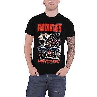 Ramones T Shirt Were Outta Here band logo Official Mens New Black